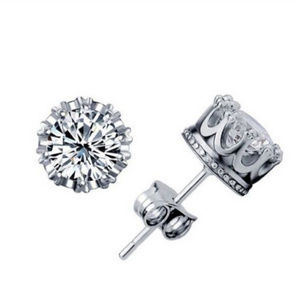 Other - Silver & White Austrian Crystal Crown Studs